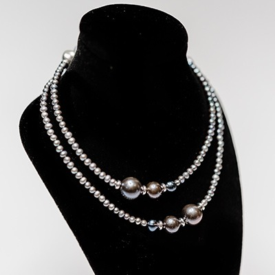 2-3mm-blue-peacock-fresh-water-tiny-pearl-with-grey-keshi-pearl-arrangement. Price: R590.00