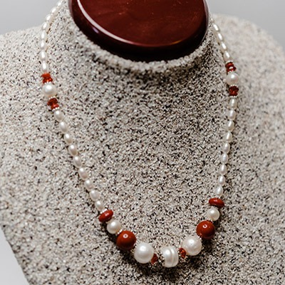 Fresh Water Pearl with Coral Arrangement. Price: R500.00