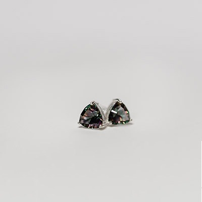 Mystic Topaz set in silver stud earrings