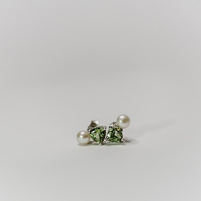 Pearl & Peridot Stud Earrings