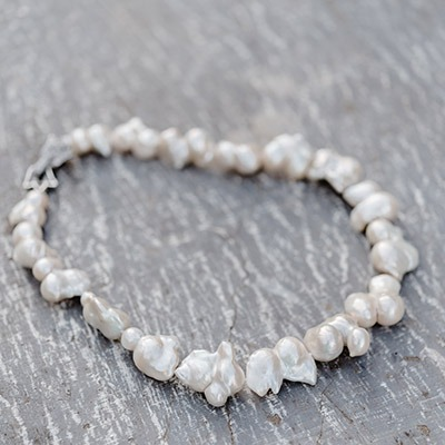 White Baroque Pearl with Silver Clasp